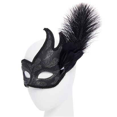 Black Masquerade Masks for Couples - His and Hers Masquerade Masks - Venetian Masks side
