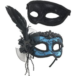 Blue/Black Masquerade Masks for Couples