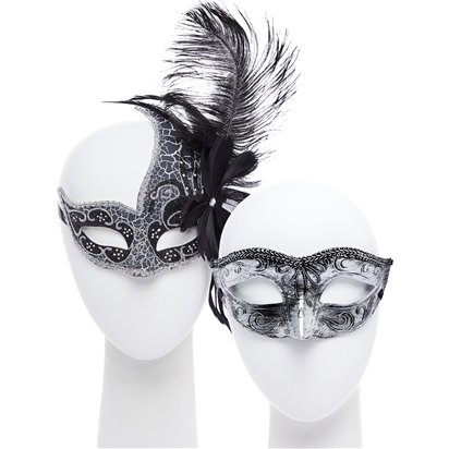 Silver Masquerade Masks for Couples - Masquerade Masks  front