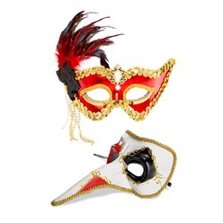Red/Gold Masquerade Masks for Couples