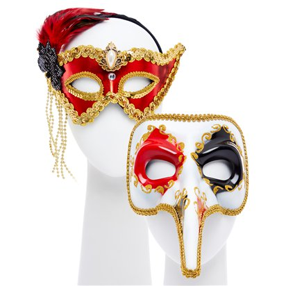 Red/Gold Masquerade Masks for Couples - His and Hers Masquerade Masks - Venetian Masks front