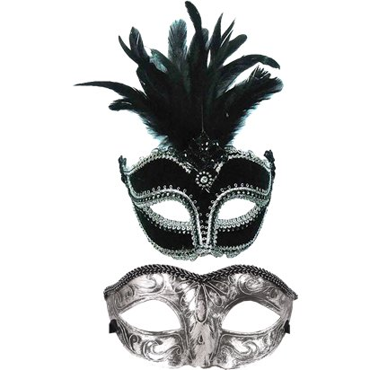 Black/Silver Masquerade Masks for Couples - His and Hers Masquerade Masks front