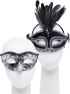 Black/Silver Masquerade Masks for Couples