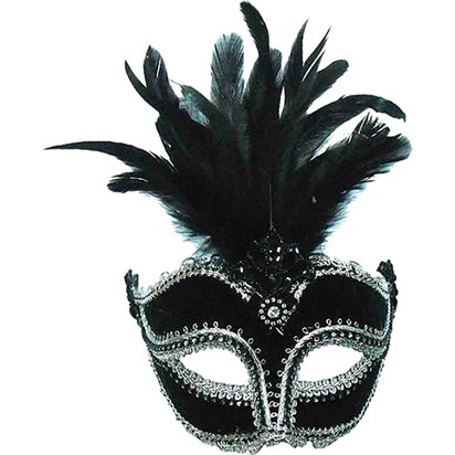 Black/Silver Masquerade Masks for Couples - His and Hers Masquerade Masks left