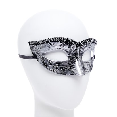 Black/Silver Masquerade Masks for Couples - His and Hers Masquerade Masks side