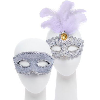Silver Masquerade Masks for Couples - His and Hers Masquerade Masks front