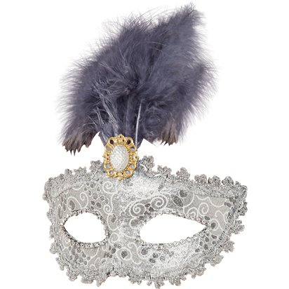 Silver Masquerade Masks for Couples - His and Hers Masquerade Masks left