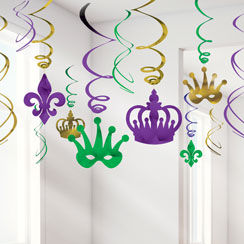 Masquerade Hanging Swirls Decorations - 60cm