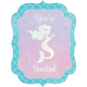 Mermaid Shine Iridescent Invites - Party Invitations Cards