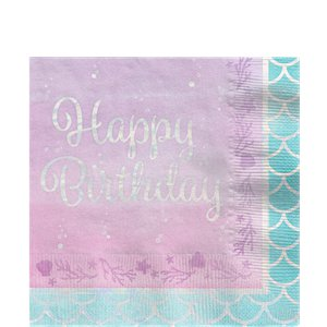 Mermaid Shine 'Happy Birthday' Paper Napkins - 33cm