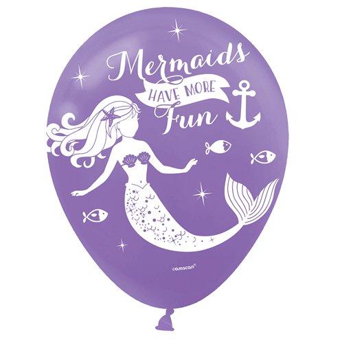 "6 x 12/"" Helium//Air Latex Balloons Happy Birthday Mermaid Shine Party Decorations"