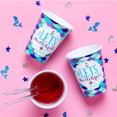 Mermaid Wishes Paper Cups - 266ml