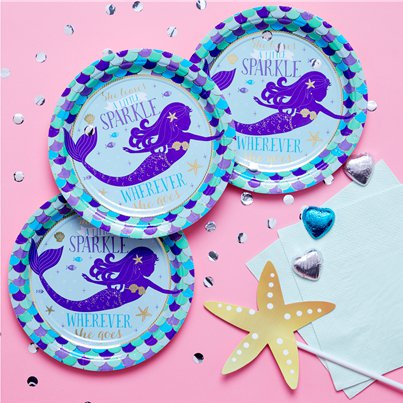 Mermaid Wishes Paper Plates - 18cm