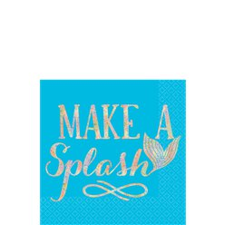 Mermaid Wishes Make A Splash Foil Beverage Napkin - 25cm