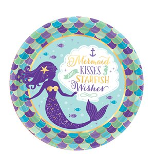 Mermaid Wishes Paper Plates - 23cm
