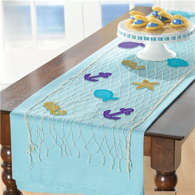 Mermaid Wishes Fish Net Table Runner - 1.7m