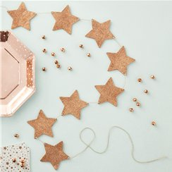 Metallic Star - Wooden Rose Gold Glitter Star Bunting - 1.5m