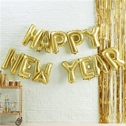 "Gold Metallic Star ""Happy New Year"" Balloon Bunting - 13"""