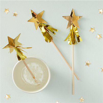 Gold Metallic Star Tassel Christmas Drink Stirrers - 18cm