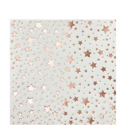 Rose Gold Metallic Star Cocktail Napkins - 25cm