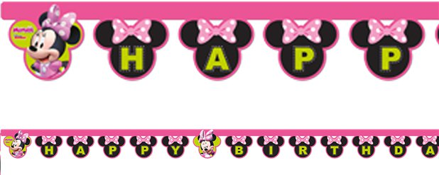 Minnie Mouse Happy Birthday Pink or Red PERSONALIZED Banner