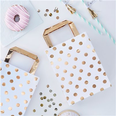 Pick & Mix Gold Polka Dot Paper Party Bags - 26cm