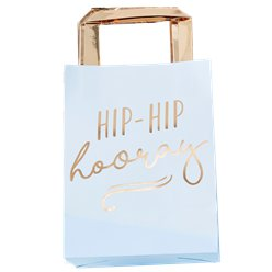 Pick & Mix Pastel 'Hip Hip Hooray' Blue Paper Party Bags - 26cm