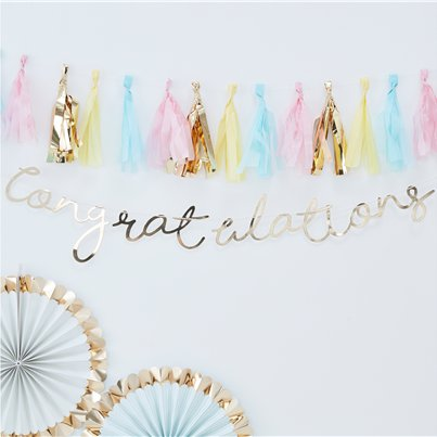 Pick & Mix Pastel Gold 'Congratulations' Banner - 1.5m