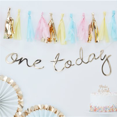 Pick & Mix Pastel Gold 'One Today' Banner - 1.5m