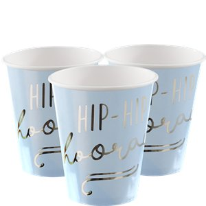 Pick & Mix Pastel 'Hip Hip Hooray' Blue Paper Cups - 255ml