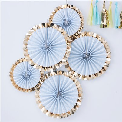Pick & Mix Pastel Gold Foiled Blue Fan Decorations - 38cm
