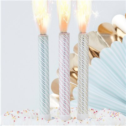 Pick & Mix Pastel Pastel & Gold Fountain Candles - 16cm
