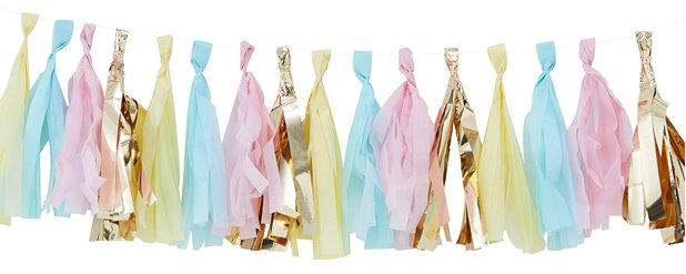 Pick & Mix Pastel Pastel & Gold Tassel Garland - 2m