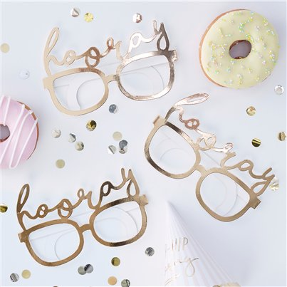 Pick & Mix Pastel Gold Hooray Party Glasses