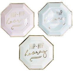 Pick & Mix Pastel 'Hip Hip Hooray' Pastel Paper Plates - 25cm