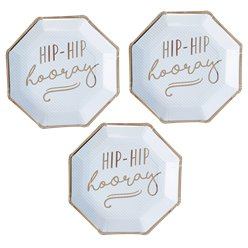 Pick & Mix Pastel 'Hip Hip Hooray' Blue Paper Plates - 25cm
