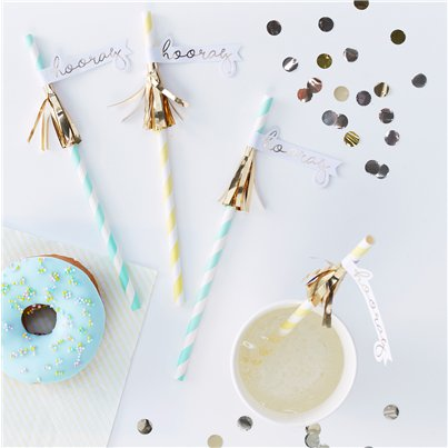 Pick & Mix Pastel 'Hooray' Tassel Paper Straws