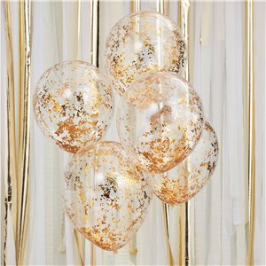 Gold Shredded Confetti Balloons - 12