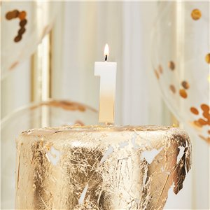 Gold Ombre Number 1 Candle