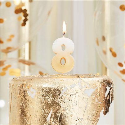 Gold Ombre Number 8 Candle