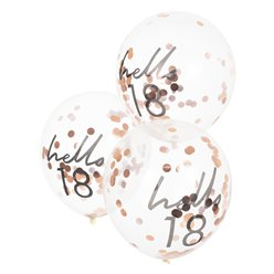 "Hello 18 Confetti Balloons - 12"" Latex"