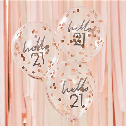 "Hello 21 Confetti Balloons - 12"" Latex"