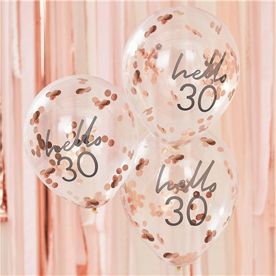 "Hello 30 Confetti Balloons - 12"" Latex"