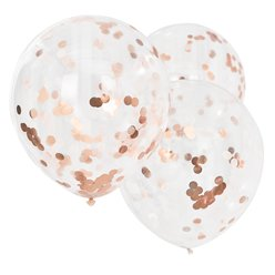 "Giant Rose Gold & Blush Confetti Balloons - 22"" Latex"