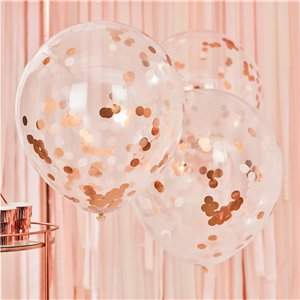 Giant Rose Gold & Blush Confetti Balloons - 36