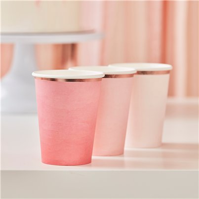 Pink Ombre Paper Cups