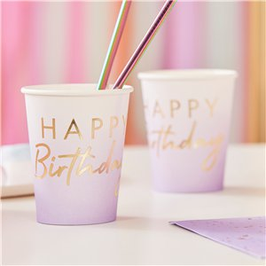 Gold & Lilac Ombre Paper Cups