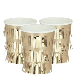 Fringed Gold Paper Party Cups