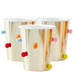 GOLD PAPER CUPS WITH POM POMS