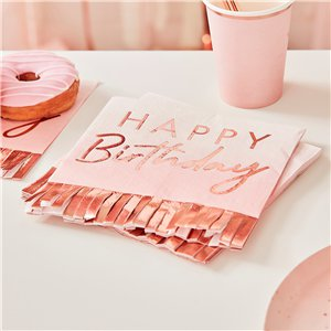 Rose Gold Fringe Paper Napkins